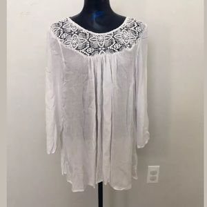 Maternity white embroidered blouse